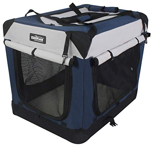 X-ZONE PET 3-Door Folding Soft Dog Crate, Indoor & Outdoor Pet Home, Multiple Sizes and Colors Available (40-Inch, Rice White)