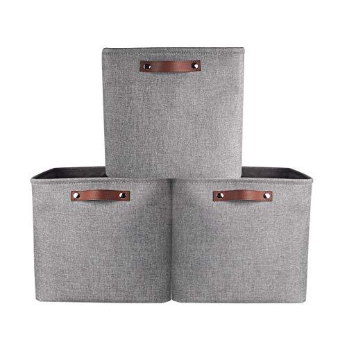 Mangata Stoff Aufbewahrungskorb, Würfel aufbewahrungsboxen 3er-Set, 30 cm für Regale, Schrank, Schränke