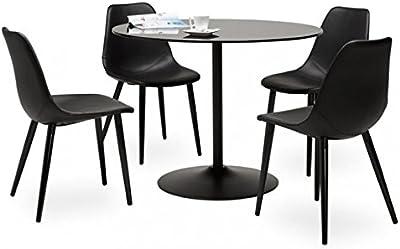 KoKoon DT00350BL BLOMA Table à diner Verre Noir 100 x 100 x 75 cm