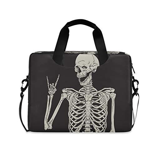 Yulife Rock Skeleton Skull Laptop Bag Sleeve Case for Women Men Briefcase Tablet Messenger Shoulder Bag with Strap Notebook Computer Case 14 15.6 16 Inch for Kids Girls Business
