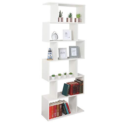 RICOO Bücherregal mit 6 Fächern, (WM070-WM) Raumteiler 192 x 70 x 25 cm Stand-Regal Steckregal Aufbewahrungsregal, Holzregal Weiß Matt Organizer Bücher-Schrank Planzen-Regal