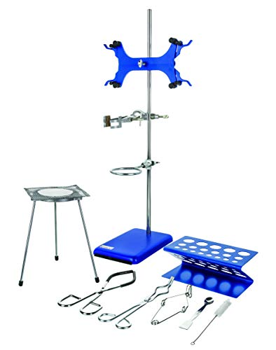 13 Piece Set - Complete Research Grade Lab Starter Kit - Includes Rod, Base, Tongs, Rings, Test Tube Stands, Clamps & More - Eisco Labs