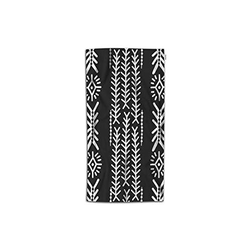 Moslion Aztec Pattern Hand Towels 30Lx15W Inch Ethic Tribal Style Abstract Monochrome Simple Folk Hand Towels Kitchen Hand Towels for Bathroom Soft Polyester-Microfiber