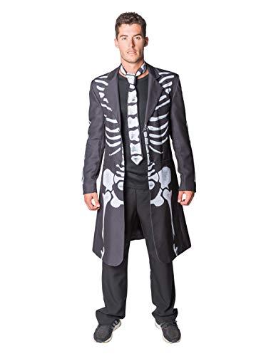 Thetru 2397 Herrenjacke Skelett 2-Teilig Jacke Krawatte Gefüttert Gesit Gespenst Leiche Zombie Untoter Halloweenkostüm Herren Halloween Herrenkostüm Karneval Fasching Verkleidung Schwarz S