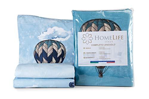 HomeLife Set Lenzuola Letto Matrimoniale Cotone Made in Italy | Completo 2 Piazze + Federe Fantasia Mongolfiere e Città | Lenzuolo sopra 250x300 + sotto a Angoli 180x200 + Federe 52x82 - Azzurro, 2P