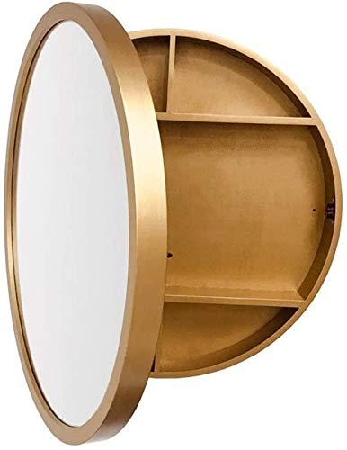 WWJ Espejo de Pared de baño Redondo HD, 50 cm con gabinete de Almacenamiento - Negro (Color: B, Tamaño: 50CM)