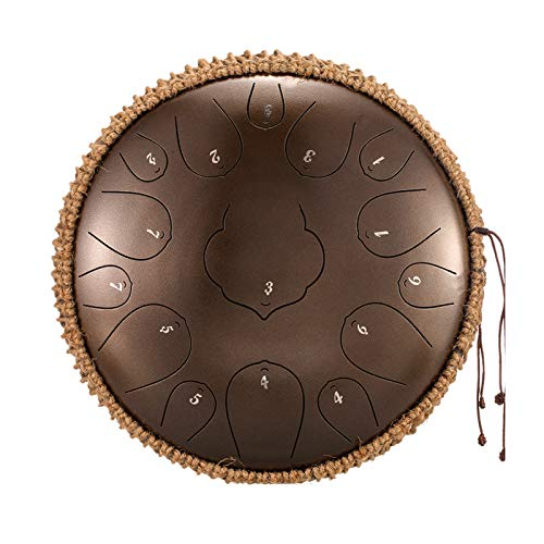 Hang Drum 15 Notes 35 cm Steel Tongue Drum - Tuning Percussion Instrument - Handpan Drum Sets with Bag, Music Book, Mallets, Finger Picks