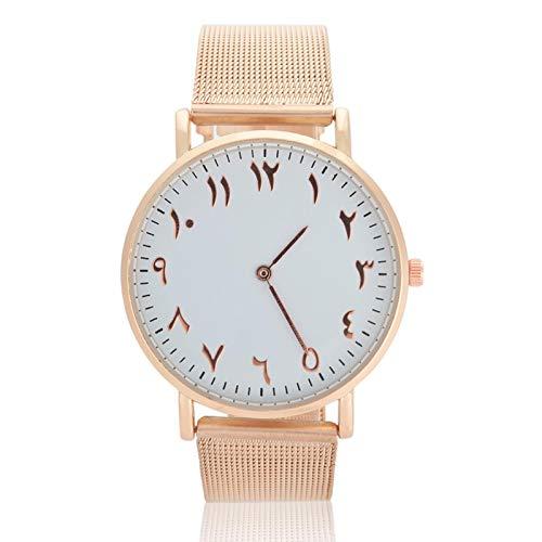 Reloj de acero inoxidable, reloj de pulsera con esfera redonda, reloj de cuarzo de 2 colores para mujer para Classmate(rose gold)