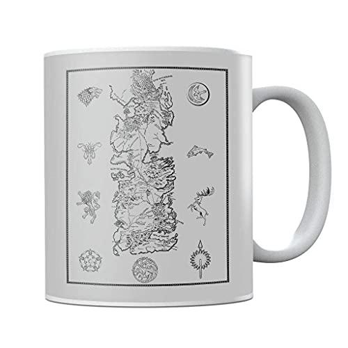 Juego de Tronos War for Westeros Mapa de cerámica oscura taza de té taza novedad Festival regalo de cumpleaños