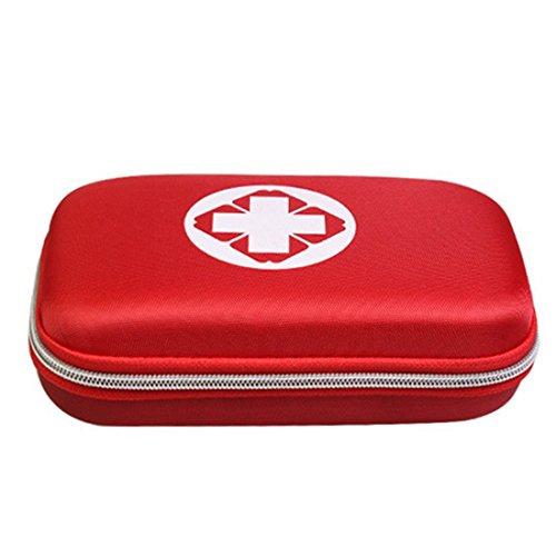 Lifesport Leer Erste Hilfe Tasche Erste-Hilfe-Koffer First Aid Kit Bag Notfalltasche Medizinisch Tasche Klein kompakt Perfekt Design für Haus Auto Camping Jagd Reisen Natur und Sport (Rot)