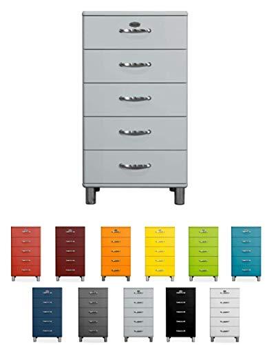 Tenzo Malibu Designer Chiffonnier avec 5 Tiroirs, Panneaux de Particules & MDF, Gris Alu, 60 x 41 x 111 cm