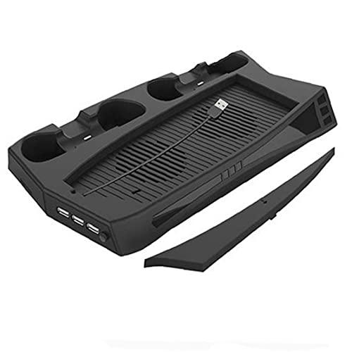 Soporte vertical para PlayStation 5 Black PS5 Estación de carga Cooler para PS5 DualSense Controller, disipador de calor