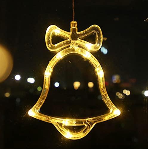 Cortina de luces LED con ventosas, luz LED para decoración de ventanas, Navidad, decoración navideña, alimentación a pilas (campanas)