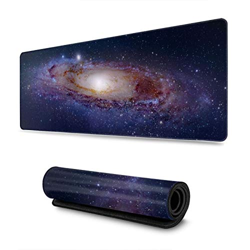 KLATIE Novelty Large Mouse Mat for Gaming,31.4 X 11.8 X 0.11 Inches Gaming Mouse Pad Large Size Desk Mousepad for Laptop, Computer Pc,Office - Cosmic Nebula