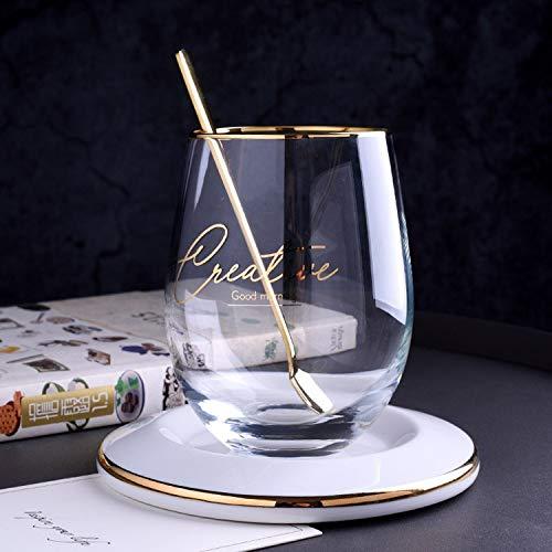 Taza de Vidrio Colorido Creativo multifumante Taza de Vino de Vino Vidrio de Vidrio Taza de té de Vidrio y platillos Conjuntos de Taza de Tiro Transparente Tazas de Vaso (Color : Text Pattern Cup)