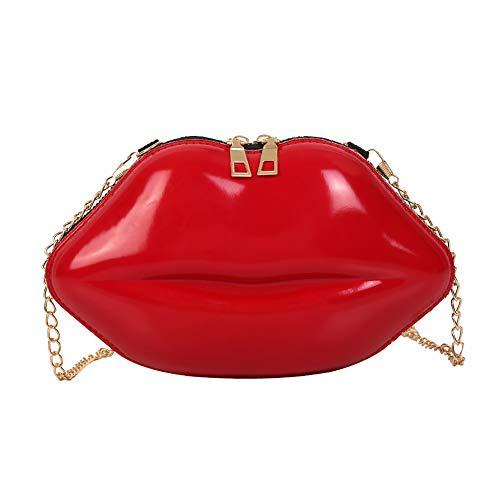 Domybest Einfarbig Lippen Damen PVC Crossbody Handtaschen Kette Messenger Tasche Schultertasche Abend Party Clutch Umhängetasche (Rot)