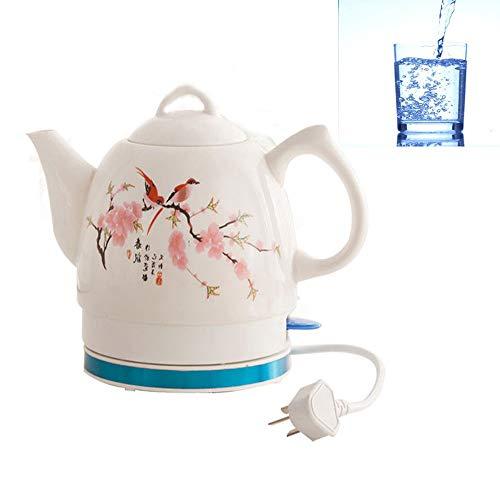 Cerámica eléctrica hervidor inalámbrico retro tetera 1.2L, 1000W silenciosa de agua en ebullición inteligente de apagado del acero inoxidable de la caldera para el té, café, sopa, harina de avena