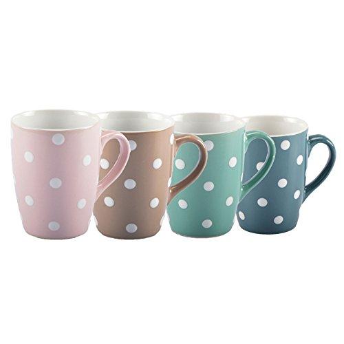 DRULINE DOTS Geschirrserie Kaffegeschirr Tafel-Service Becher Tasse Teller Müslischale - NEU (Kaffeebecher, 6er-Set (BLAU))