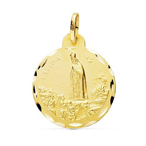 Alda Joyeros Medalla Virgen de Fátima 22 mm en Oro de 18 Ktes