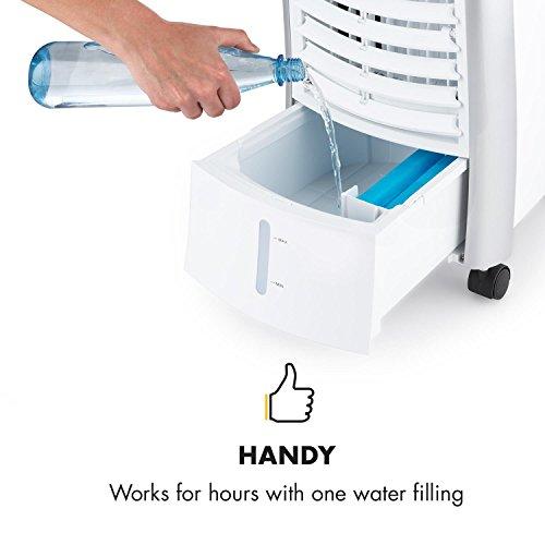 Klarstein Maxfresh WH Luftkühler-Ventilator-Kombination mit drei Leistungsstufen • niedriger Energieverbrauch • Bodenrollen • Lammellen-Schwenkfunktion • inkl. Fernbedienung und zwei Eis-Packs • weiß - 6