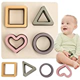 HETOMI Baby Soft Nesting Sorting Stacking Toys Silicone Teething Blocks Shapes Recognition Learning Development Toys for Toddler 3+ Months(Beige)