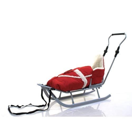 Unbekannt Adbor Schlitten mit Rückenlehne, Schieber und Fußsack Farbe rot