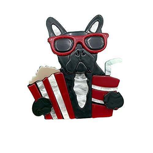 Handmade Acrylic Ainimal Brooches For Women Acetate Resin Cute Dog Owl Elk Crane Girl Brooch Pins Dress Accessory Jewelry Gifts (black french bulldog)