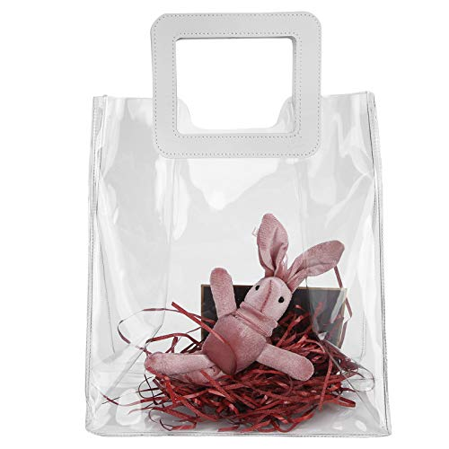 Bolso transparente, bolso de mano de PVC Bolso de mano transparente aprobado por el estadio Bolso de cosméticos impermeable Bolso de maquillaje para niñas Bolso de regalo transparente(rojo)