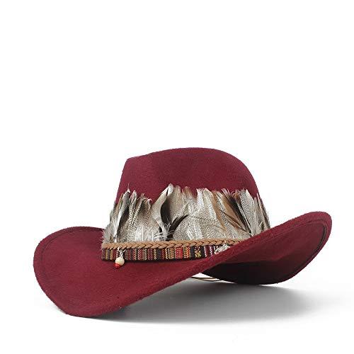Xuguiping Cowboy herenhoed met donsmuts, Larga en Sombrero Pop muts voor jazz voor kerken in de open lucht 56-58 Wijn Rood