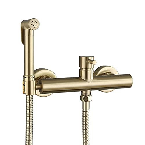Grifos de Bidé Shattaf Pulverizador Portatil para WC Bidé Presurizado en Oro Cepillado, Caliente y en Frío Multifuncional Ducha Bidet para Inodoro Wc, Utilizado para Baño