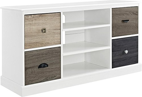 "Ameriwood Home 1739096 Mercer TV Console with Multicolored Door Fronts for TVs up to 50"", White"