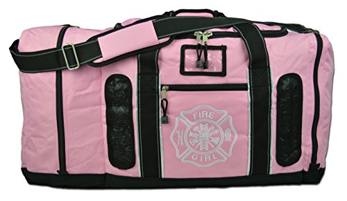 Newly Redesigned Lightning X Firefighter Fireman Quad-Vent Turnout Gear Bag w/Helmet Compartment, Mesh Vents & Maltese Cross for First Responder (Pink)