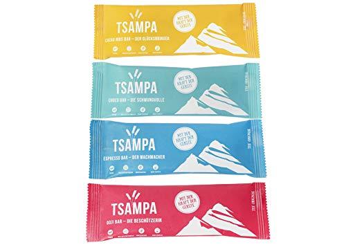 TSAMPA - MIX BOX - Vegane und Bio Energieriegel aus gerösteter Gerste - 10 Stück à 40g (4 Sorten: Cacao Nibs,Goji, Choco, Espresso)