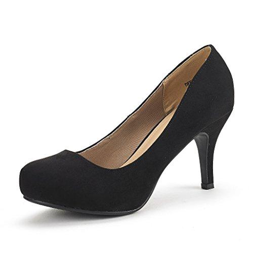 DREAM PAIRS Tiffany Women's New Classic Elegant Versatile Low Stiletto Heel Dress Platform Pumps Shoes Black Suede Size 9