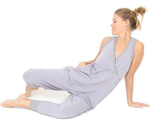 Prancing Leopard Damen Yoga Overall Toulouse in Bio Baumwolle Elegante Schwarze 3/4 Lange Hosenanzug - M - Silver Grey