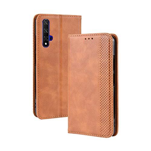 LAGUI Kompatible für Huawei nova 5T Hülle, Leder Flip Hülle Schutzhülle für Handy mit Kartenfach Stand & Magnet Funktion als Brieftasche, braun
