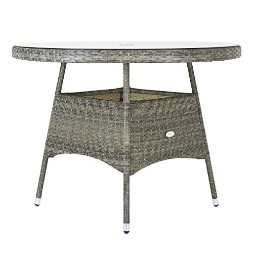 Charles Bentley Rattan 6 Seater Dining Table - Natural 26.8kg Weatherproof Parasol Hole durable rattan H74 x Dia130 (cm)