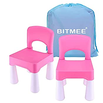 Toddler Chair Kids Chair for Boys and Girls Indoor and Outdoor Using Ergonomic Design Durable Non-Toxic Plastic Material  an Additional Serviceable Functional Storage Bag for Kids  2 Pack Pink