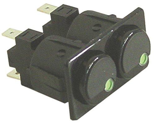 ROLD - Interruptor de presión para tostadora Fiamma TRD-30.2, TRS-20.2, TOSTI-D3, TOSTI-S3 250V 1NO/1NO (conector plano 6,3 mm), color negro