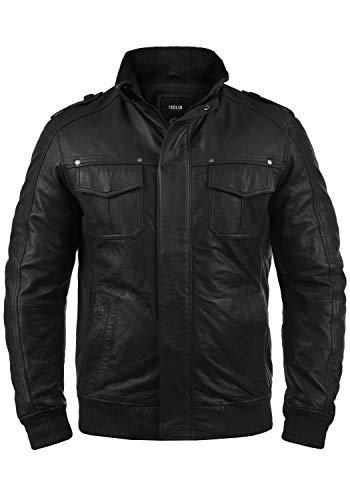 !Solid Camash Herren Lederjacke Echtleder Mit Stehkragen Aus 100% Schafsleder, Größe:L, Farbe:Black (S9000)