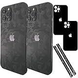 TF Skins Pellicola protettiva per iPhone 12 Pro Skin (2 pezzi) per la parte posteriore e i lati in look elegante, con protezione per fotocamera da graffi (nero shadow Black)