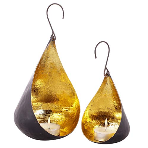 Dibor Set of 2 Black and Gold Decorative Hanging Tea Light Holders
