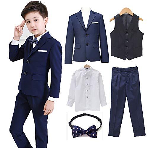 Angelmemory Conjunto de 5 trajes formales para niños de esmoquin para niños pequeños, conjunto de trajes de chaqueta para niños, ajuste delgado, para bodas - azul - 9-10 años