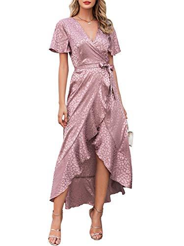 Miessial Women's Summer Chiffon V Neck Ruffle Maxi Dress Polka Dot Long Beach Wrap Dress (10/12, Pink)