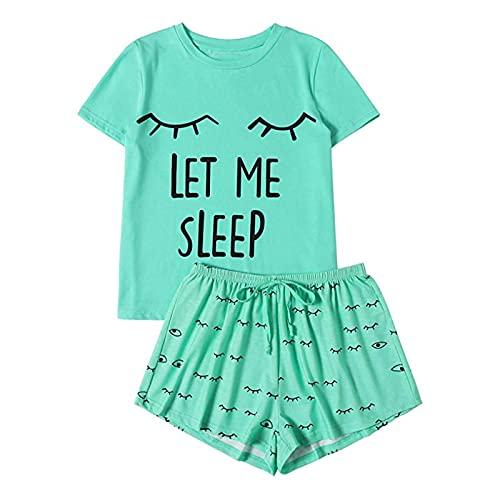 MLOPPTE Pijama,Letter Printed Pajama Set Women's Short Sleeve Print T-Shirt Sleepwear Nightwear Set Pajamas M Green