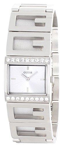GUESS Reloj de pulsera de acero inoxidable con esfera plateada para mujer W10235L1