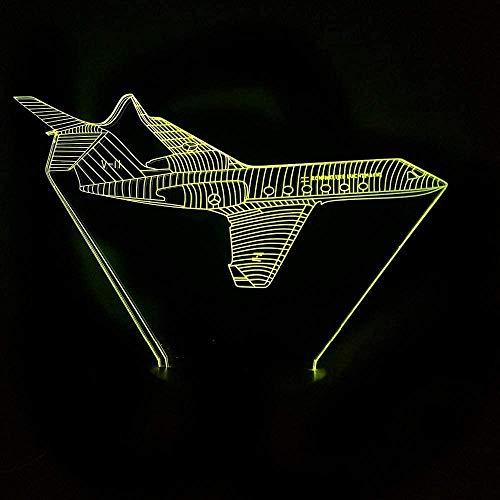 Visual 3D Color cambiante Avión de aviación Accesorios de iluminación LED Decoración Luces de noche Interruptor táctil Lámpara de mesa de avión