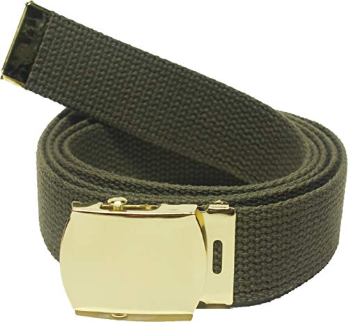 ARMYU 100% Cotton Military 54' Web Belt (Olive Belt w/Gold Buckle)