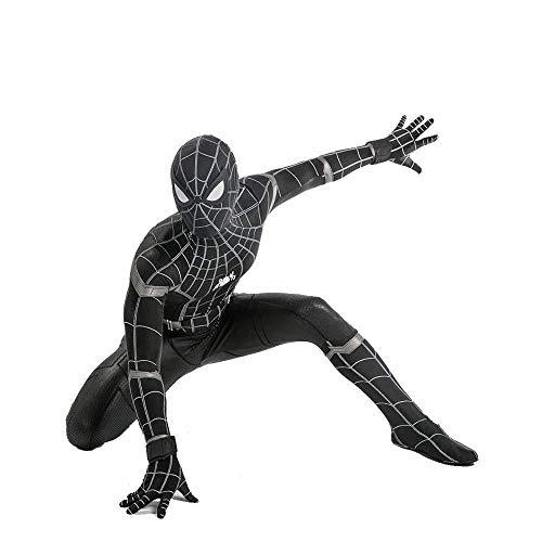 WEGCJU Schwarz Spiderman Kostüm Erwachsenes Kind Halloween Spandex Trikot Kostümfest Film Kleidung,Adult-S