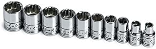 SK Professional Tools 1340 10-Piece 1/4 in. Drive 12-Point STD/Deep Metric Socket Set - Chrome Socket Set with Super Chrom...